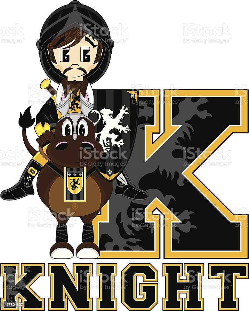 Knight on Horse Learning Letter K royalty-free knight on horse learning letter k stock vector art & more images of adult