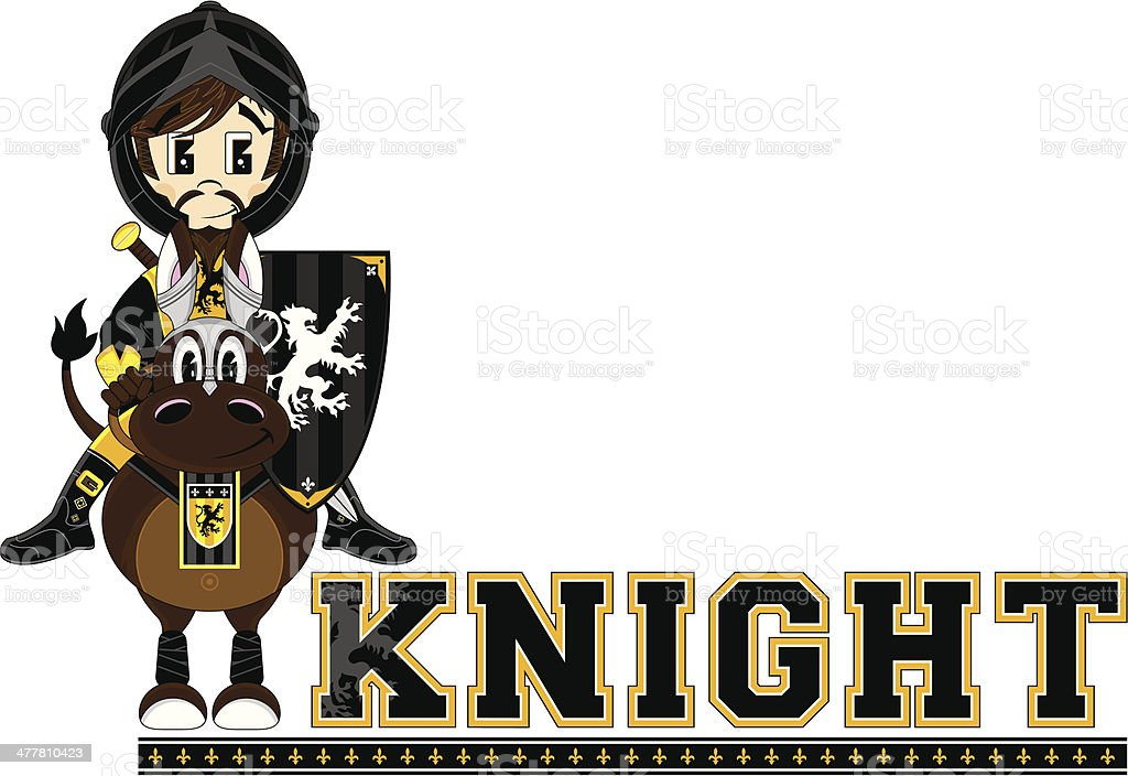 Knight on Horse Learning Letter K royalty-free stock vector art