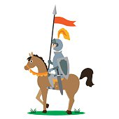 knight on horseback with a spear with a banner. vector illustration of cartoon