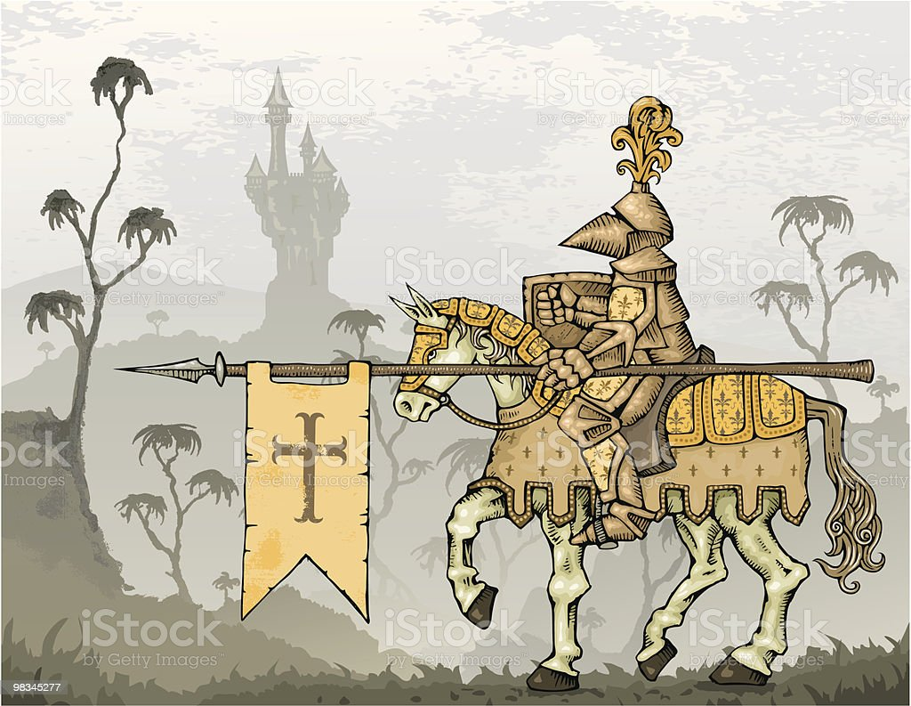 Knight on Horseback with Castle in Background royalty-free knight on horseback with castle in background stock vector art & more images of adult