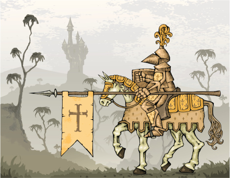 Knight on Horseback with Castle in Background