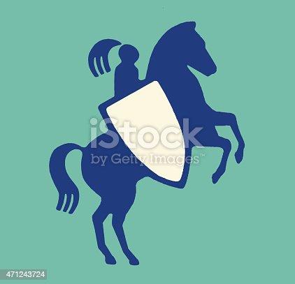 istock Knight on Horseback with Shield 471243724