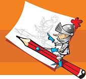 ilustración vectorial de caballero montando un lápiz