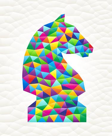 Knight on triangular pattern mosaic royalty free vector art