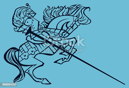 Vector illustration of a lateral point of view oif a  Knight Rider On Horseback Clip Art