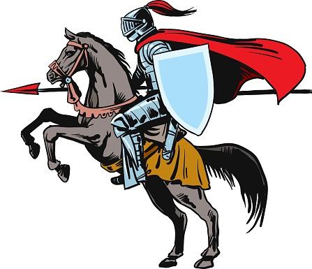 Knight riding horse - Vector