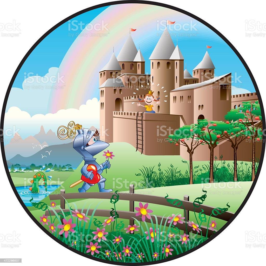 Knight saving Princess royalty-free stock vector art