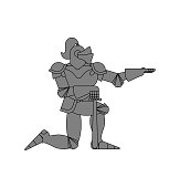 Knight standing on one knee isolated. Valentines Day. February 14 illustration.