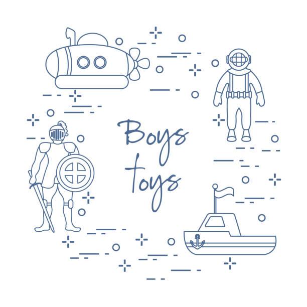 illustrazioni stock, clip art, cartoni animati e icone di tendenza di knight, submarine, diver, ship. children's toys. - frogman