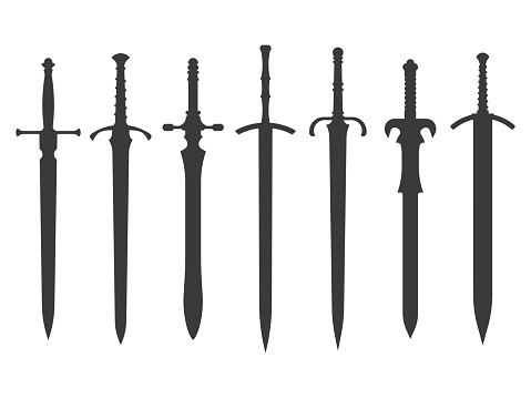 knight swords silhouettes