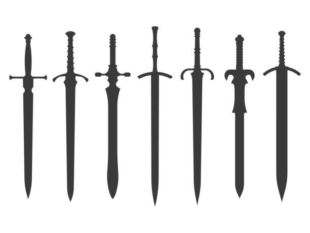 기사 칼 실루엣 - sword stock illustrations