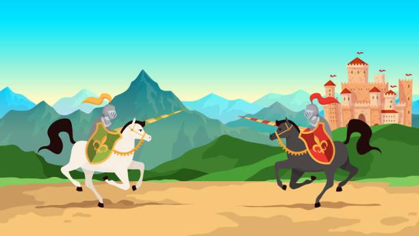 bildbanksillustrationer, clip art samt tecknat material och ikoner med riddare turnering. strid mellan medeltida krigare i metall rustning med lance vapen ridning hästar. historisk vektor bakgrund - häst tävling