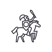knight vector line icon, sign, illustration on background, editable strokes