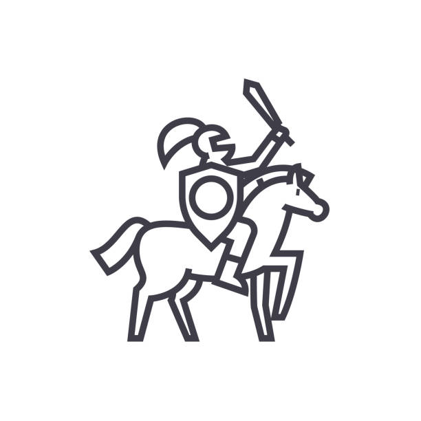 knight vector line icon, sign, illustration on background, editable strokes - knight in shining armor stock illustrations, clip art, cartoons, & icons