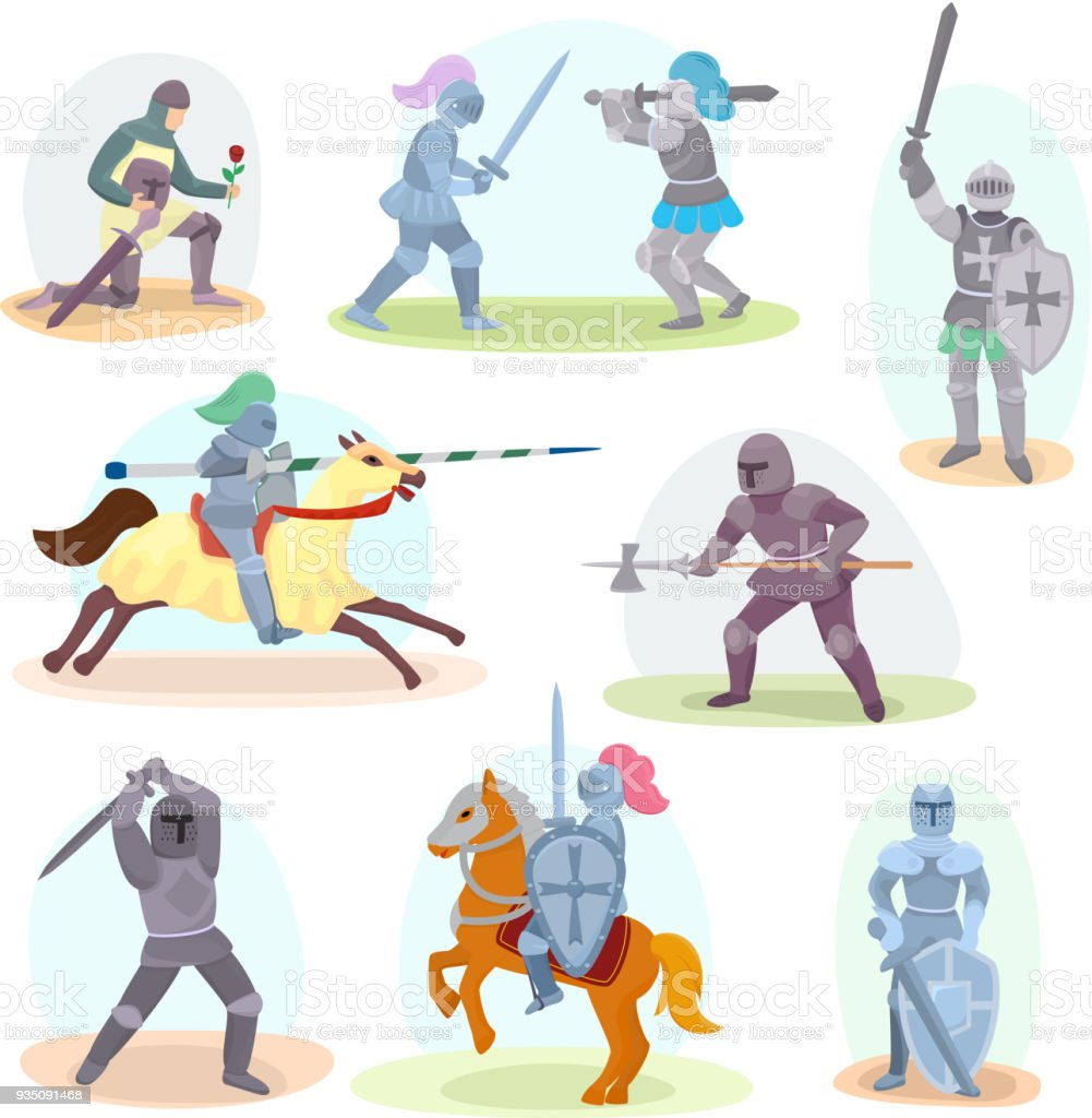 Knight vector medieval knighthood and knightly character with helmet armor and knightage sword illustration set of chivalry man isolated on white background