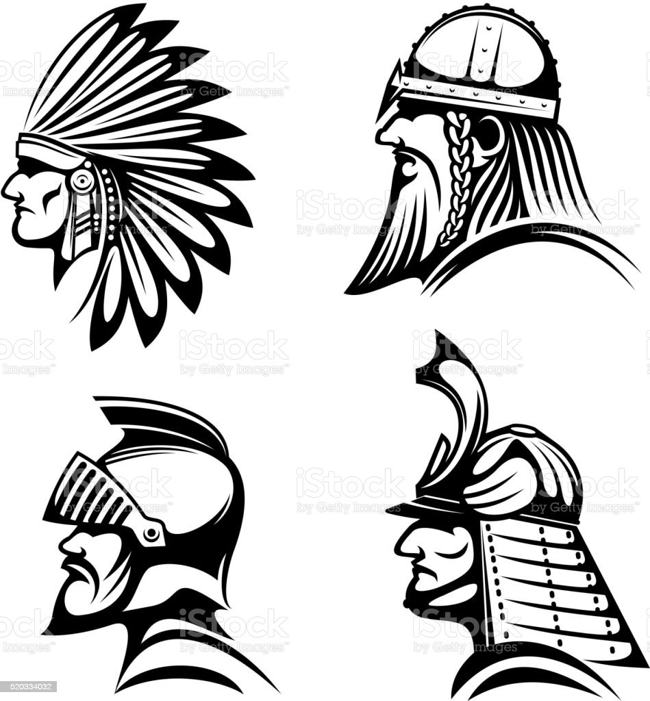 knight viking samurai and native indian icons stock vector art