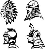 Ancient warriors in helmets icons with profiles of medieval knight, bearded viking soldier, japanese samurai and native american indian in feather headdress. May be used as history symbol, war mascot or tattoo design