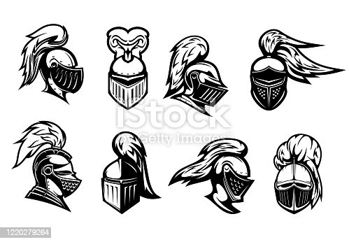 istock Knight warrior head in armor helmet, heraldry 1220279264