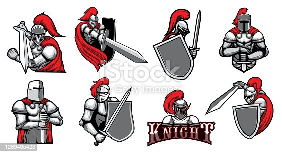 Knight warrior with helmet, shield and Medieval armor with sword, vector heraldic icons. Spartan knight or gladiator and royal warrior in paladin and red plume helmet, mascot emblems and heraldry
