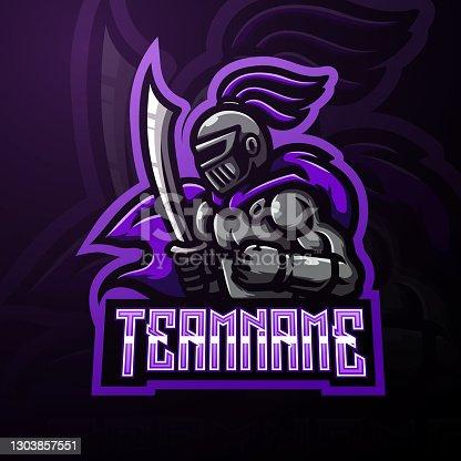 istock Knight warrior mascot esport symbol design 1303857551