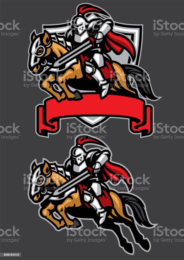 knight warrior riding horse mascot