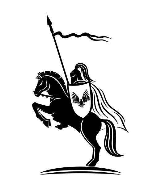 knight with a spear. - knight in shining armor stock illustrations, clip art, cartoons, & icons