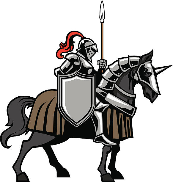 knight with armored horse - knight in shining armor stock illustrations, clip art, cartoons, & icons