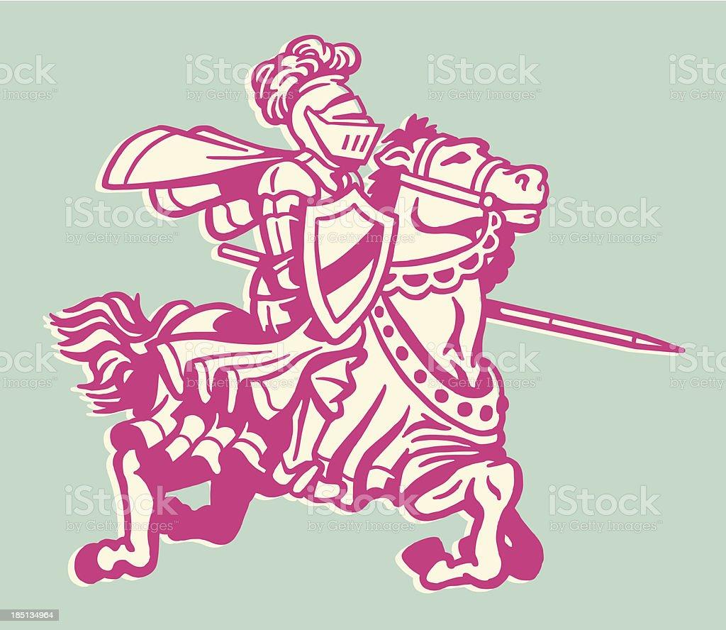 Knight with Lance on Horseback vector art illustration