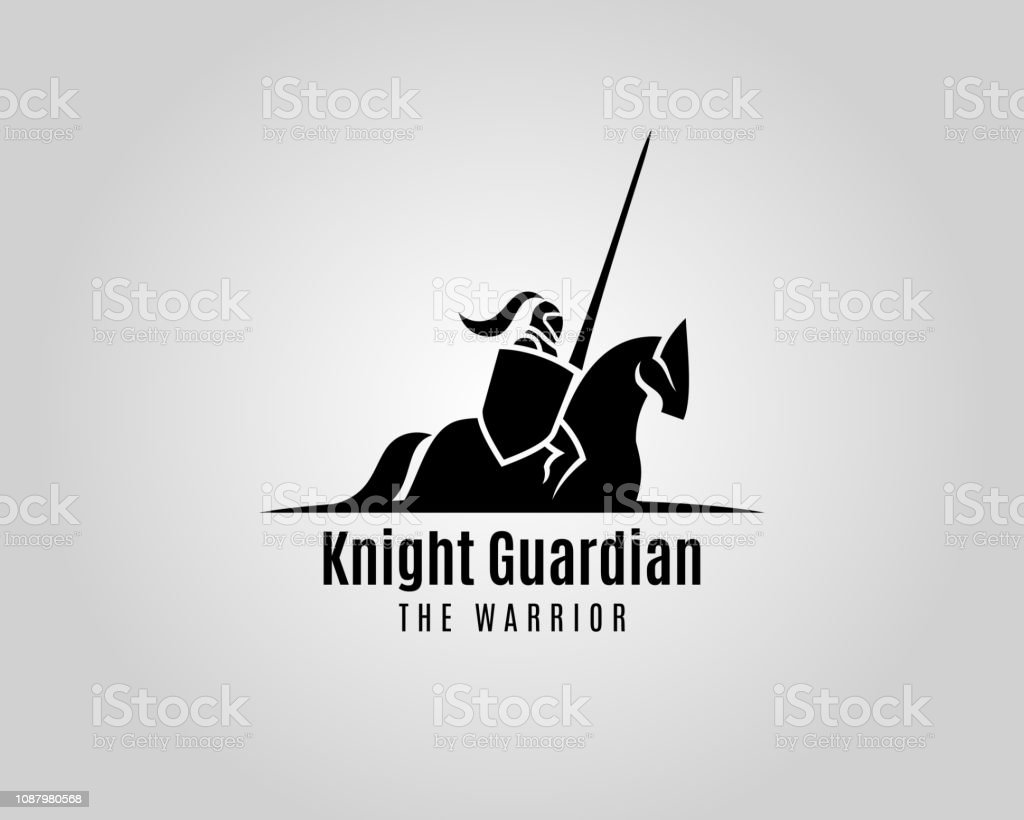 Knight with shield and spear on a horse - vector silhouette