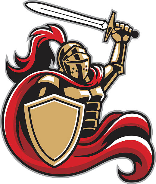 knight with shield and sword - knight in shining armor stock illustrations, clip art, cartoons, & icons