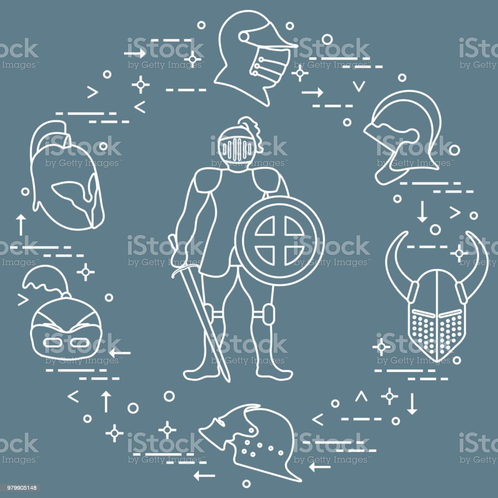 Knight With Shield Sword And Different Helmets Stock Vector Art ...
