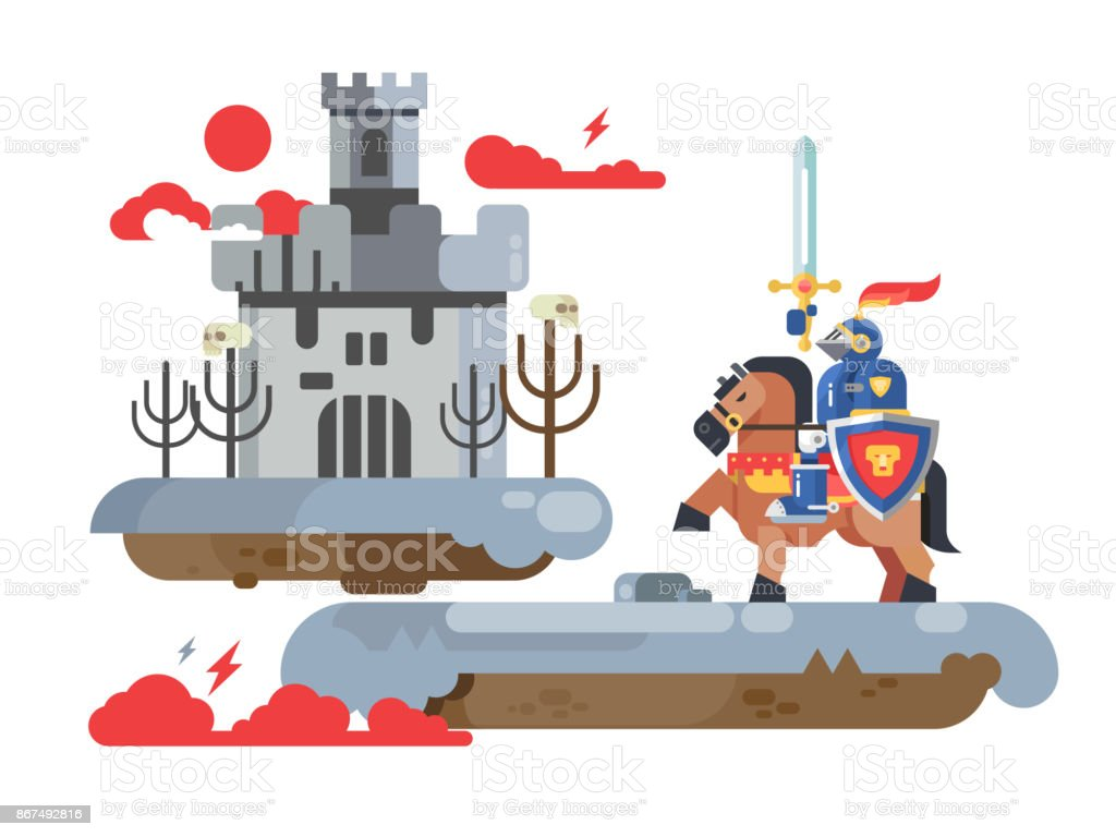 Knight with sword and old castle