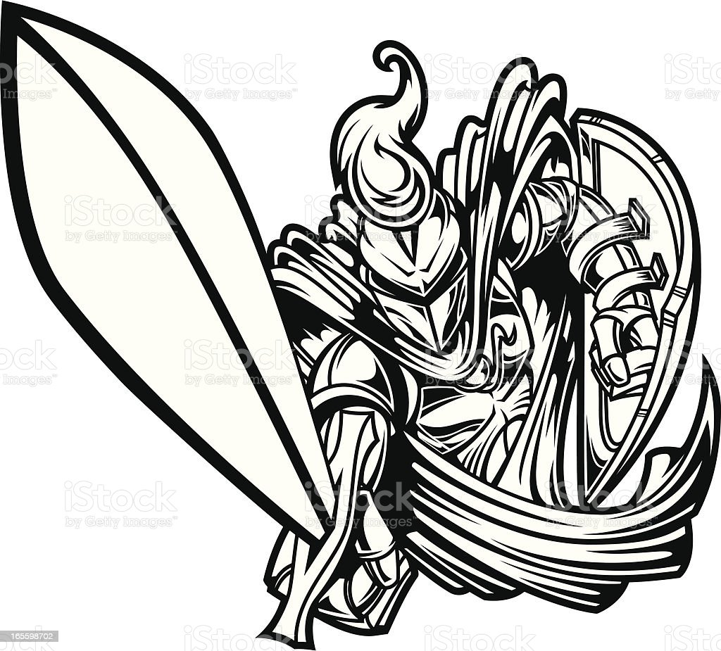 Knights Charge II B&W royalty-free knights charge ii bampw stock vector art & more images of aggression
