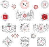 Collection of heraldry knights outline coat of arms and monograms design.File contain EPS10 and large JPEG.