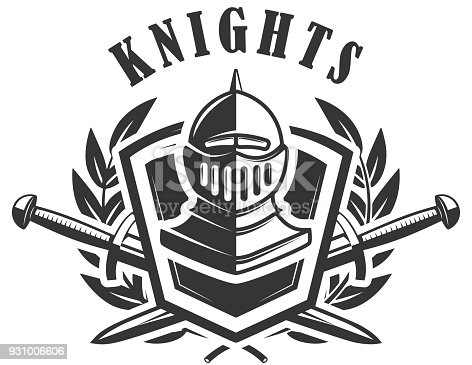 Knights Emblem Template With Medieval Knight Helmet Design Element ...
