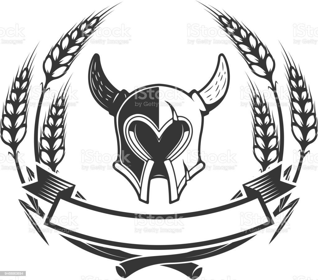 knights emblem template with medieval knight helmet design element