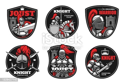 istock Knights, medieval warriors, heraldic shield, sword 1329427142