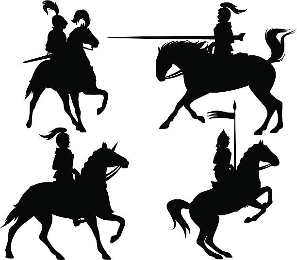 knights silhouetten - reiter stock-grafiken, -clipart, -cartoons und -symbole