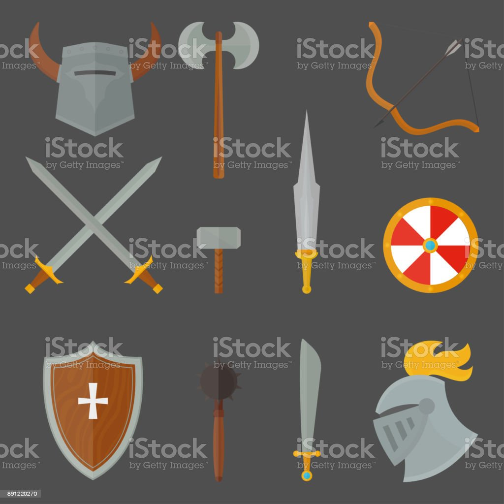 Knights Symbols Medieval Weapons Heraldic Knighthood Elements