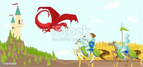 Knights with swords fight fierce dragon cartoon vector illustration of wild fairytale fantasy creatures with wings in sky, castle. Knight prince and dragon, medieval life in middle ages fairytale.