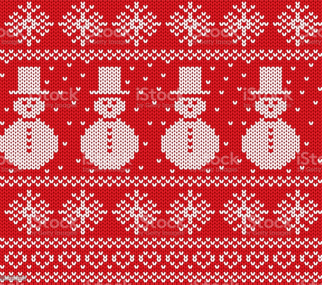 Knit Christmas Design With Snowmen And Snowflakes Geometric Knitted ...