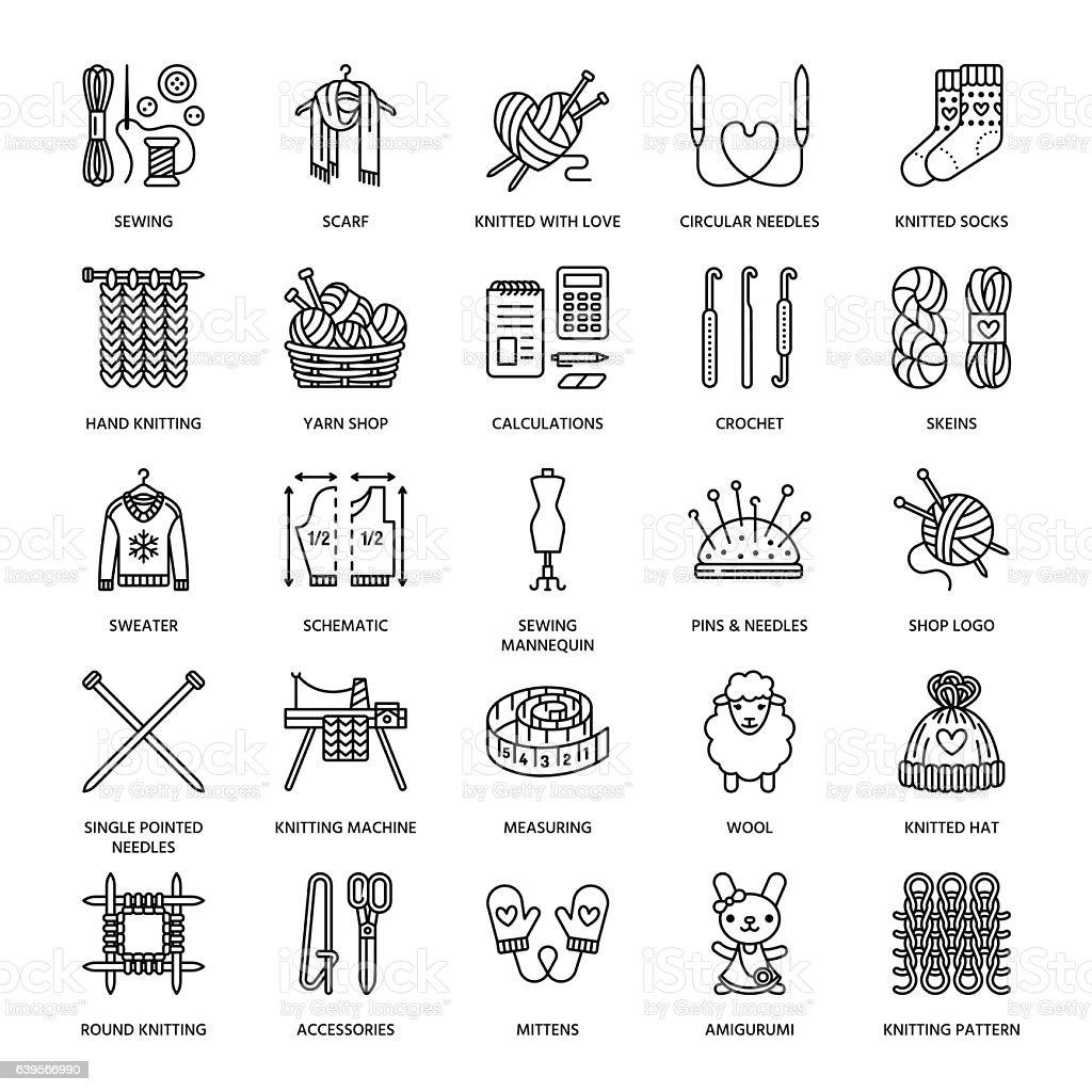 Knit, crochet, hand made line icons set. Knitting needle, hook vector art illustration