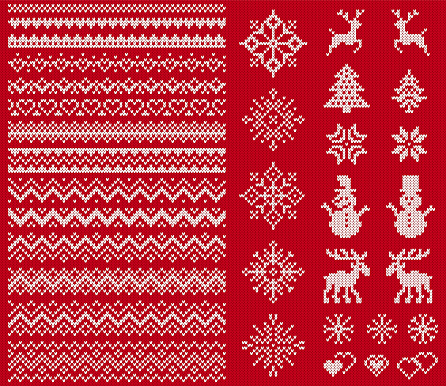 Knit elements. Vector illustration. Christmas sweater seamless texture. Knitted print.