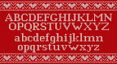 Knit font on Christmas knitted background. Vector illustration.