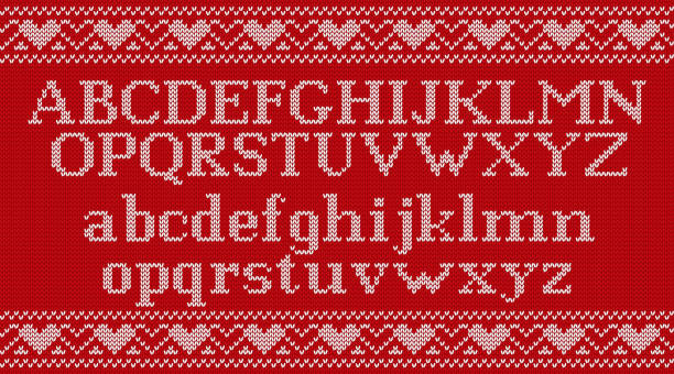 Knit font on Christmas knitted background. Vector illustration. Knitted font. Christmas knit Latin alphabet on seamless pattern. Nordic Fair Isle knitting background. Sweater Xmas Valentine winter design with heats. Vector graphics. alphabet backgrounds stock illustrations