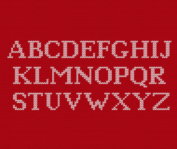 knit font on christmas knitted background. vector illustration. - alphabet backgrounds stock illustrations
