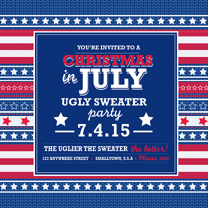 Knit pattern Tacky Sweater in July Holiday party invitation