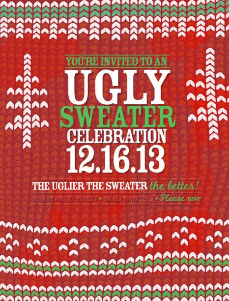 strickmuster'ugly sweater'holiday party feier einladung design-vorlage - monster stock-grafiken, -clipart, -cartoons und -symbole