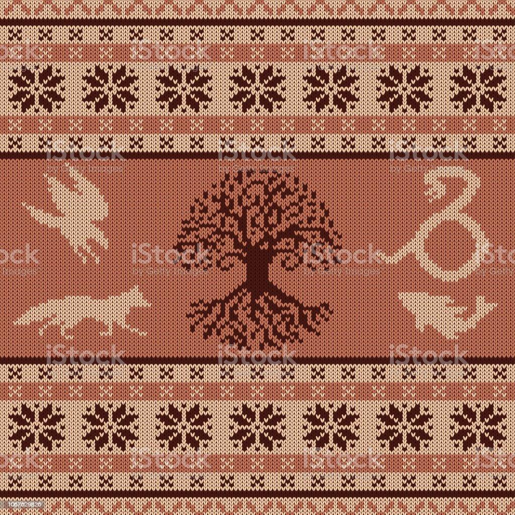 Punto ornamento de lana con los animales totem céltico y el árbol de la vida - ilustración de arte vectorial