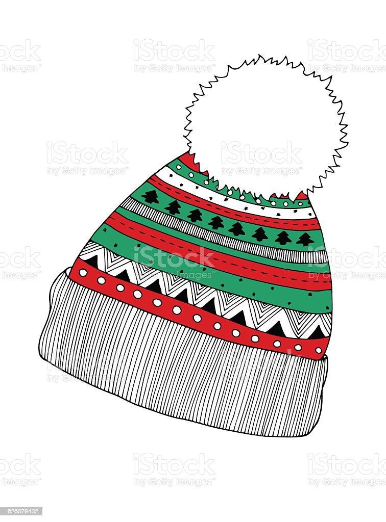 Knitted cap, vector illustration vector art illustration